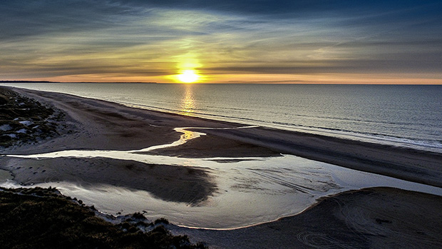 Solnedgang ved Rødhus i Jammerbugt Kommune. ©Foto: Henrik Bo