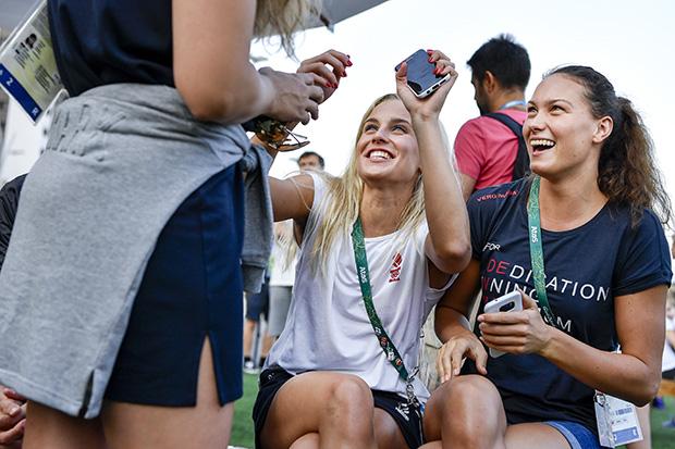 OL 2016 pressemøde i Rio de Janeiro med de danske atleter i Village Plaza. Sarah Bro, Danmark og Mie Ø. Nielsen, Danmark. Foto: Henrik Bo